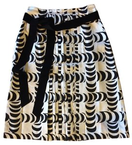 Tory Burch Skirt Black and ivory silk