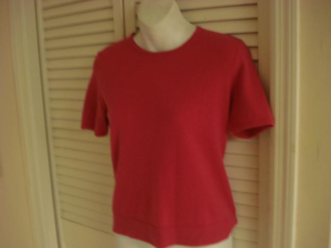 Saks Fifth Avenue 100% 2ply Cashmere Short Sleeved Raspberry Pink Sweater