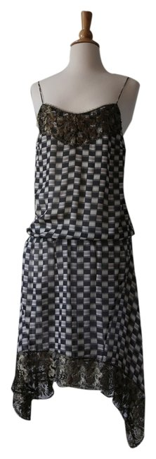 Patrizia Pepe Asymmetrical Gold Lace Checkered Spaghetti Strap Dress