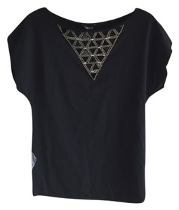 bebe Studded T Shirt Black