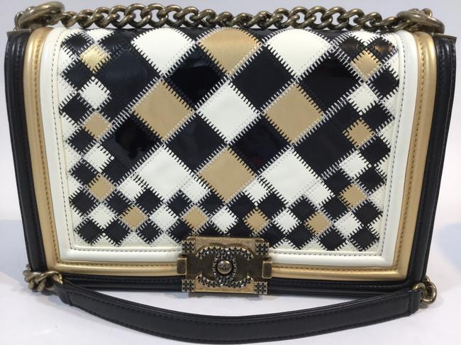 Item - Boy Patchwork Black White and Gold Leather Cross Body Bag