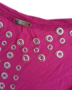 bebe Studded Top Fuchsia