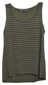 Forever 21 Striped Hi Lo Top Yellow/gray