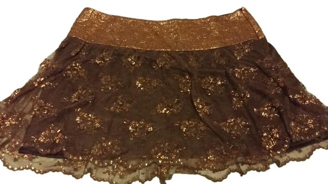 Guess By Marciano Mini Skirt Dark Chocolate and gold