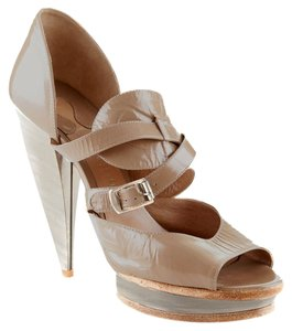 Chloé Patent Leather Luxury Stiletto Evening Taupe Platforms
