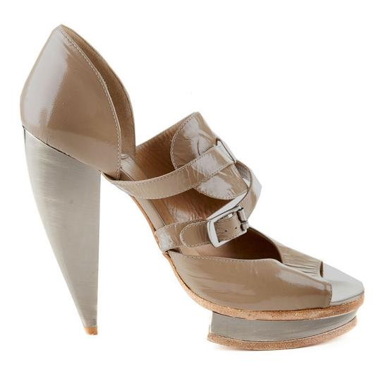 Chloé Patent Leather Luxury Stiletto Evening Taupe Platforms Image 1