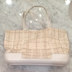 Bottega Veneta Wristlet in White, Cream, Taupe