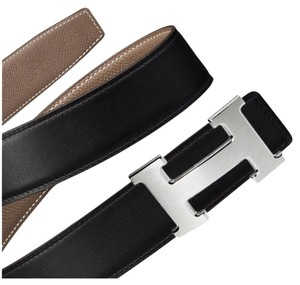 Hermès Hermes Etoupe Black 85cm Constance 32mm Brushed Silver Belt Kit Essential