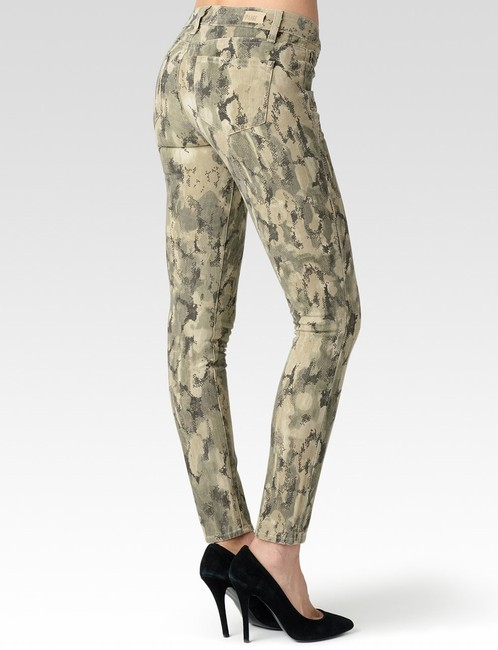 Paige Pants Stretch Edgemont Zip Zipper Fatigue Camouflage Army Military Print Modern Cool Edgy Chic Elegant Urban Designer Skinny Jeans-Medium Wash