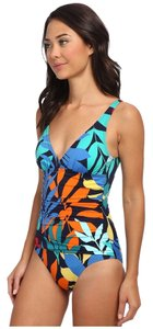 Tommy Bahama Tommy Bahama Tropical Leaf V Neck Surplus Front Cup W/ Scoop Back Swimsuit Size 10