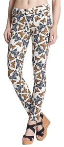 Paige Pants Stretch Blue Navy Grey Orange Butterfly Print Designer Fashion Style Elegant Chic Feminine Summer Casual Skinny Jeans-Light Wash