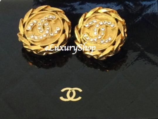 Chanel Authentic Vintage CHANEL CC Logo Large Crystal Gold Earrings