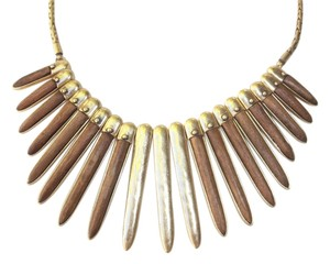 Lucky Brand Lucky Brand Wood Inlay Spike Paddle Necklace
