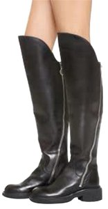 Ash Leather Over The Knee black Boots