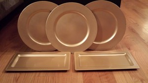 Joann's Fabric Gold Trays and Charger Plates Reception Decoration