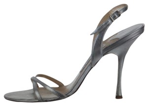 Jimmy Choo Luxury Designer Italian Leather Napa silver Sandals