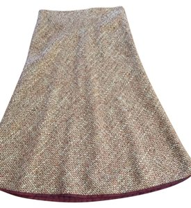 Philippe Adec Wool Skirt Burgundy and beige