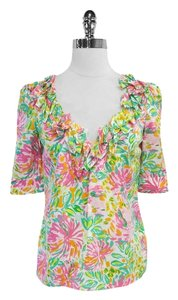 Lilly Pulitzer Floral Print Silk Cotton Top