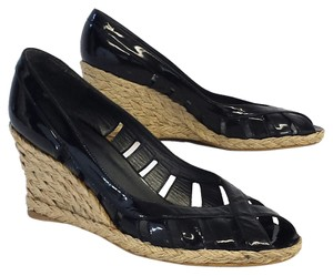 Stuart Weitzman Patent Leather Braided Sandals Wedges
