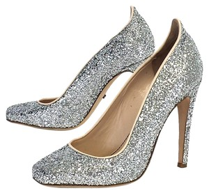 Jerome C. Rouseau Silver Glitter Leather Pumps