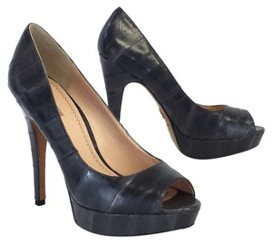 Pour La Victoire Peep Toe Leather Platform Pumps