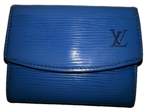 Louis Vuitton Louis Vuitton Coin Case Wallet Purse Epi Leather Blue France
