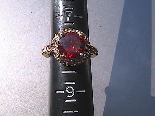 Other 14k Yellow Gold Filled Orange Stone & White Topaz Ring