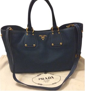72ef45ff8d41 Prada Soft Leather Adjustable Shoulder Strap Verified W/ Certificate Of  Authentication Tote in Blue