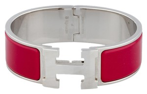 Hermès Palladium red enamel Herms Wide Clic Clac H lock bracelet GM