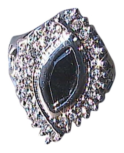Other 14k White Gold Filled Black Onyx & White Topaz Ring