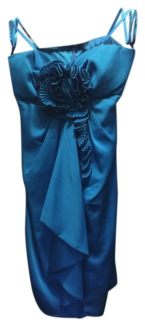 Max and Cleo Blue Strapless Maxandcleo Evening Dress