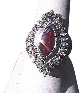 14k White Gold Filled Garnet & White Topaz Ring