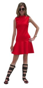 H&M Drop-waist Party Nightout High-neck Skater Holiday Red Dress