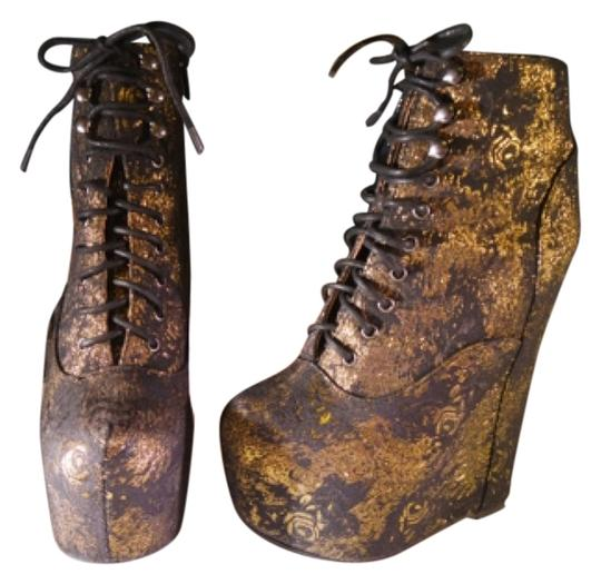 Jeffrey Campbell Black and rose gold Boots