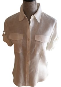 Other Size Small Tops Linen Linen Tops Small Button Down Shirt Ivory