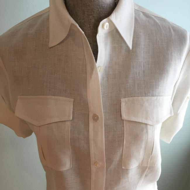 Other Size Small Tops Linen Linen Tops Small Button Down Shirt Ivory Image 3