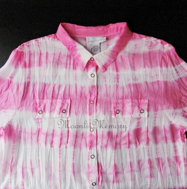 Soft Surroundings New Without Tags Silk Tie Dye Shirt Top Pink