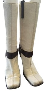 Dolce&Gabbana Ivory with brown leather detailing Boots