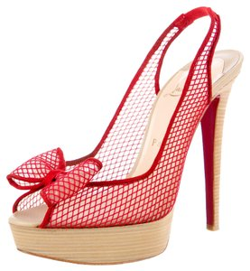 Christian Louboutin Leather Peep Toe Exclu Red Pumps