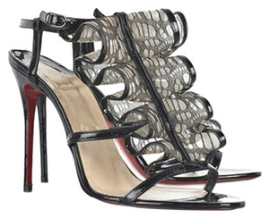 Christian Louboutin Fortitia 100 Patent Patent Leather Stiletto Slingback Peep Toe Ruffle Mesh Fishnet Black Sandals