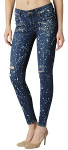 Paige Denim Edgmont Zipper Zip Splatter Corroison No Whiskers Distressed Ripped Designer Fashion Style Modern Cool Edgy Chic Pretty Skinny Jeans-Distressed
