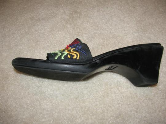 Chico's Black with multi color stitching Sandals