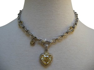 Judith Ripka Judith Ripka 18Kg Sterling Silver Canary Heart Pendant Enhancer Chain Necklace