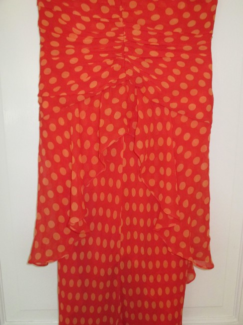 Chetta B. by Sherrie Bloom and Peter Noviello Polka Dot Mermaid Long Formal Bright Coral Dress