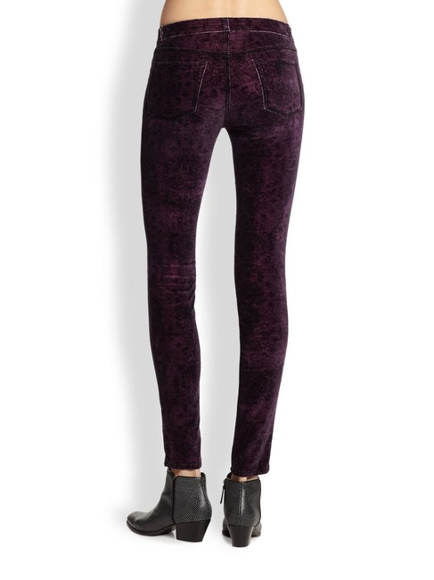 J Brand Pink Pants Stretch Velvet Velveteen Corduroy Designer Fashion Style Modern Cool Edgy Chic Elegant Casual Women Jeggings-Dark Rinse