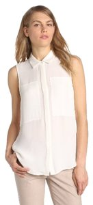 Theory Silk Button Up Ivory Top White/Ivory