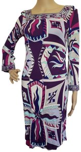 Emilio Pucci Print Longsleeve Graphic Sundress Monogram Dress