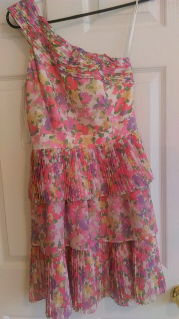 Gianni Bini short dress Paradise pink Special Occasions Floral Pleated One Shoulder on Tradesy Image 1