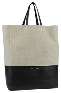 Céline Leather Minimalistic Chic Unique Durable Canvas Color-blocking Lightweight Classic Spacious Amazing Tote in Black and Beige