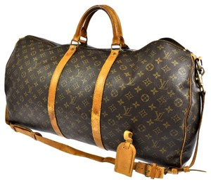 Louis Vuitton Mongoram Canvas Leather Keepall 60 Speedy Travel Duffle Luggage Vintage Classic Totes Brown Travel Bag